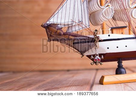 Model Of Ships On The Wooden Table