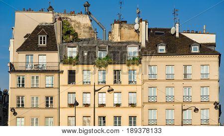 Row of typical Left Bank Parisian buildings in the Sorbonne neighborhood. Latin Quarter 5th Arrondissement Paris France