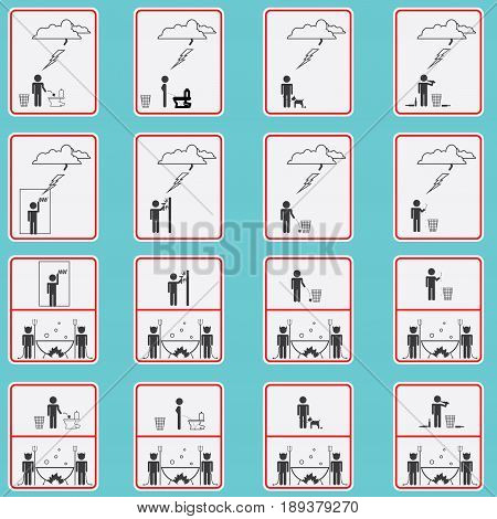 Vector illustration consisting of sixteen images in the form of prohibitory signs
