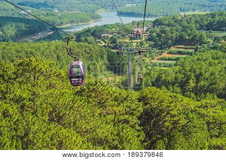 Dalat Cable Car At Robin Hill, Truc Lam. Vietnam