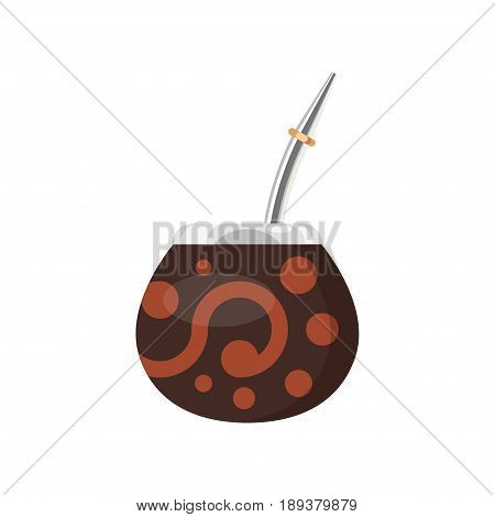Vector flat style illustration of Mate in a traditional calabash with bombilla mate cup. Isolated on white background. Icon for web.