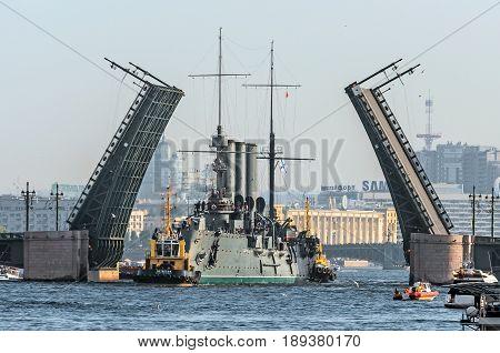 Passage Of Cruiser Aurora Under The Palace Bridge. Russia Saint-petersburg, September 2014.