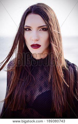Closeup portrait of a beautiful sad young woman