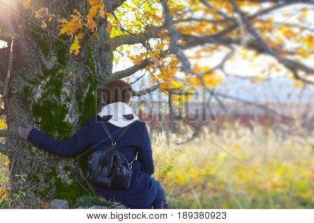Young Girl Sit Under The Tree