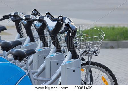 Silver Blue Bicycle At Parking