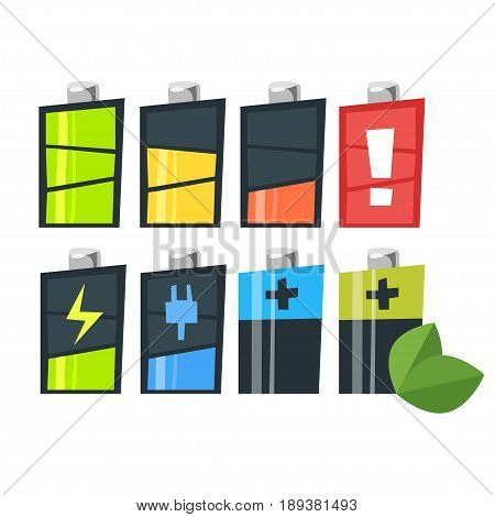 Vector cartoon style set of batteries. Icon for web. Isolated on white background.