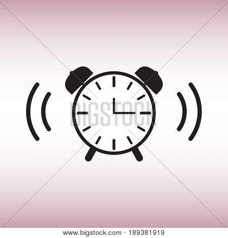 Alarm clock isolated vector sign. Alarm clock flat vector icon.