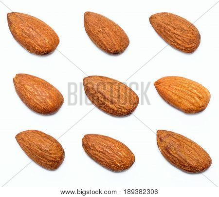 almond isolated on the white background close up group of healthy nuts almonds.