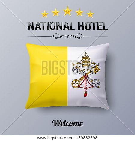 Realistic Pillow and Flag of Vatican City as Symbol National Hotel. Flag Pillow Cover with flag design