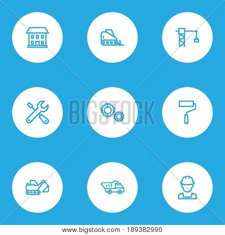 Architecture Outline Icons Set. Collection Of Gear, Tower Crane, House And Other Elements. Also Includes Symbols Such As Builder, House, Crane.