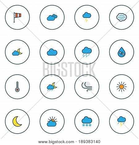 Meteorology Colorful Outline Icons Set. Collection Of Cloudburst, Tempest, Moonbeam And Other Elements. Also Includes Symbols Such As Cloudburst, Moon, Freeze.