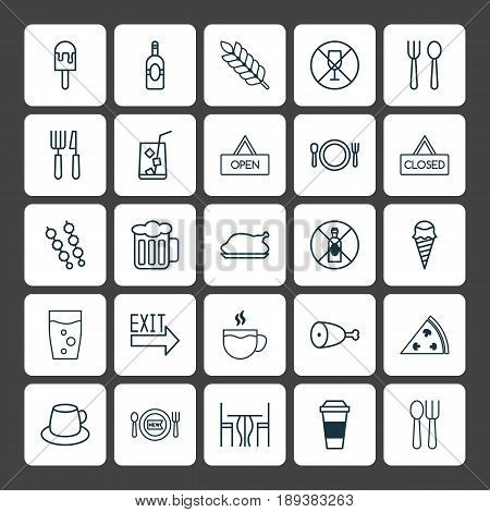Restaurant Icons Set. Collection Of Dining Room, Chicken Fry, Stick Batbecue And Other Elements. Also Includes Symbols Such As Cutlery, Bar, Espresso.