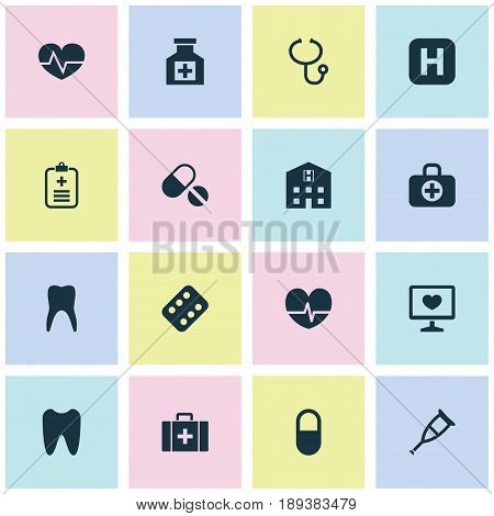 Medicine Icons Set. Collection Of Pills, Chest, Beating And Other Elements. Also Includes Symbols Such As Illness, Teeth, Analyzes.