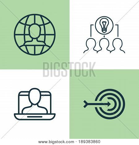 Corporate Icons Set. Collection Of Collaborative Solution, Arrow, Global Work And Other Elements. Also Includes Symbols Such As Arrow, Collaboration, Job.