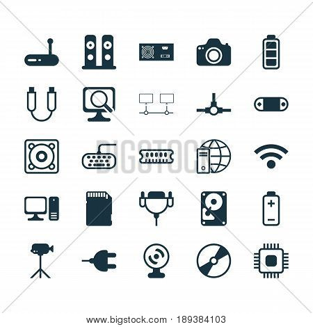 Computer Icons Set. Collection Of Battery, Desktop Computer, Connector And Other Elements. Also Includes Symbols Such As Connectivity, Hdd, Web.