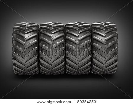 Off-road Wheels On Black Gradient Background 3D