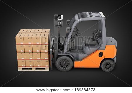 Forklift Truck With Boxes On Pallet Side View On Black Gradient Background 3D