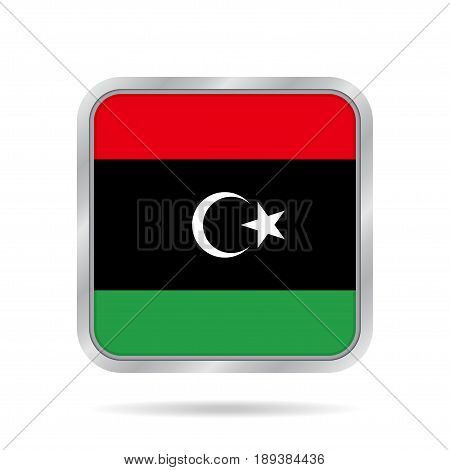 National flag of Libya. Shiny metallic gray square button with shadow.