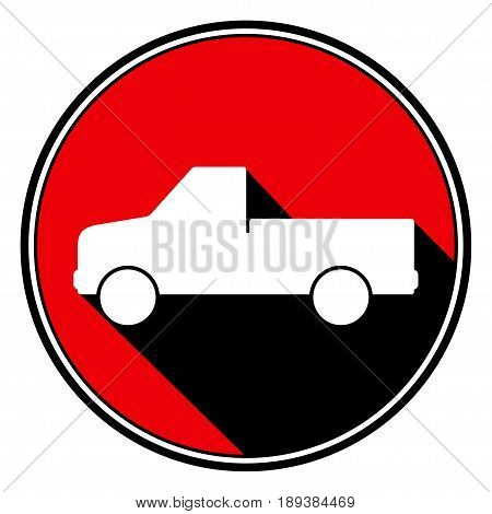 red round with border and black shadow - white pickup with a flatbed icon