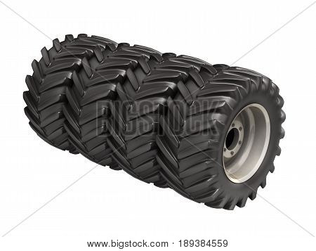 Off-road Wheels Without Shadow On White Background 3D