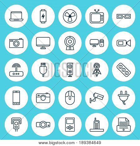Gadget Icons Set. Collection Of Notebook, Television, Speaker And Other Elements. Also Includes Symbols Such As Rotor, Smartphone, 3D.