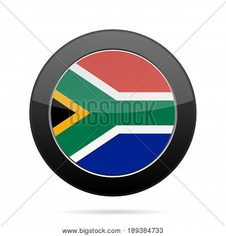 National flag of South Africa. Shiny black round button with shadow.