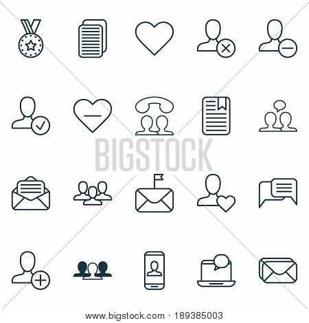 Communication Icons Set. Collection Of Mail Notification, Confirm Profile, Ban Person And Other Elements. Also Includes Symbols Such As Messaging, Human, Internet.