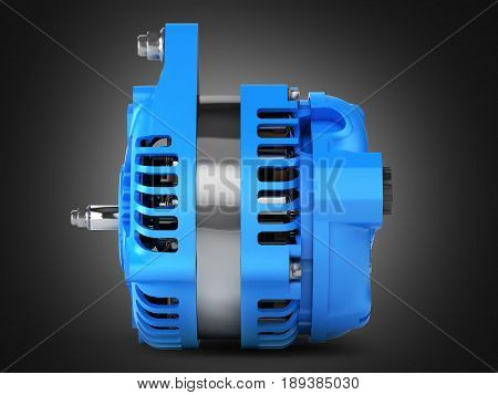Car Alternator Side View On Black Gradient Background 3D