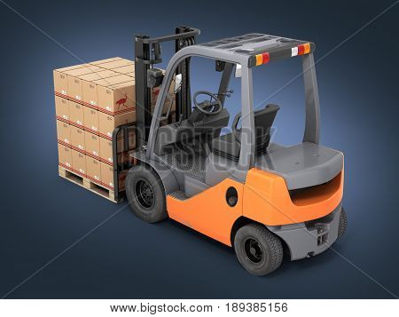 Forklift Truck With Boxes On Pallet On Dark Blue Gradient Background 3D