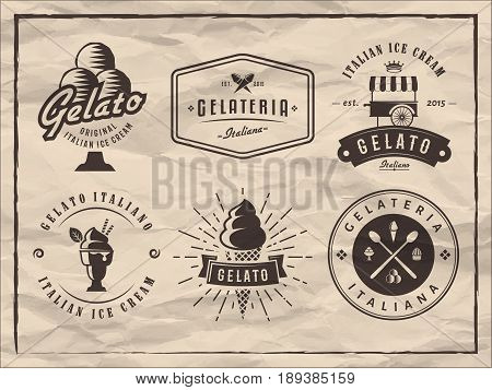 Set of gelato badges on vintage paper background. Vector italian ice cream labels. Retro logos for cafeteria or bar.