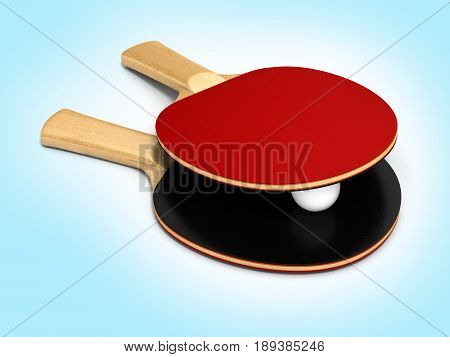 Ping-pong Rackets And Ball On Blue Gradient Background 3D