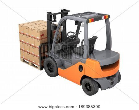 Forklift Truck With Boxes On Pallet Without Shadow On White Background 3D