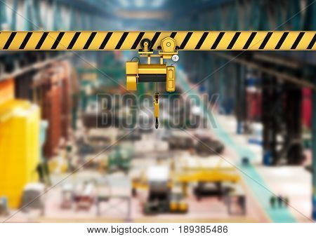 overhead crane on factory background 3d render