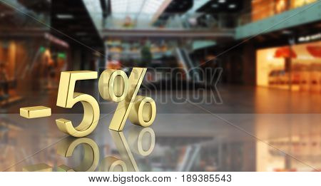 Gold Text 5 Percent Off On Shopping Center Background With Reflection 3D Render