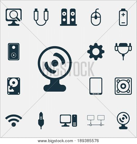 Hardware Icons Set. Collection Of Hdd, Vga Cord, Control Device And Other Elements. Also Includes Symbols Such As Vga, Monitor, Storage.