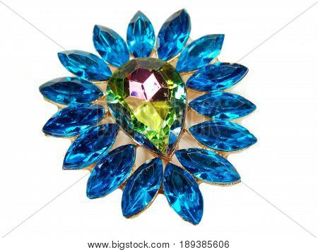 jewelry brooch with bright multicolor crystals luxury fashion accessory