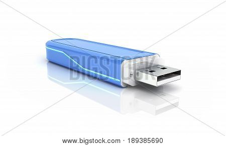 Usb Flash Drive In Blue With Backlight Isolated On White Background With Reflection 3D