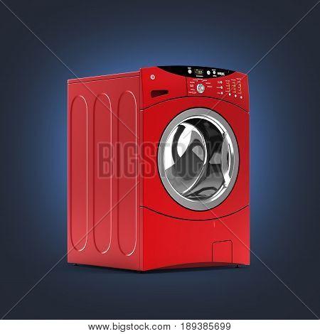 Red Washing Machine Without Shadow On Dark Blue Gradient Background 3D Illustration