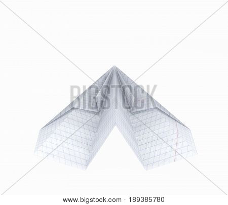 Paper Plane Made With Graph Paper Without Shadow On White Background 3D