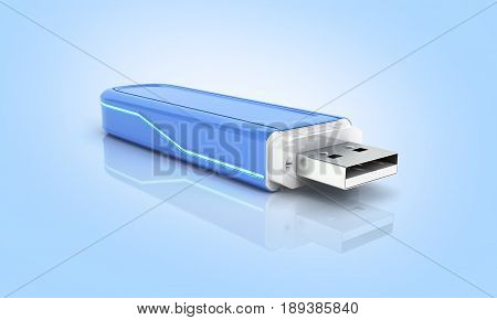 Usb Flash Drive In Blue With Backlight On Blue Gradient Background With Reflection 3D
