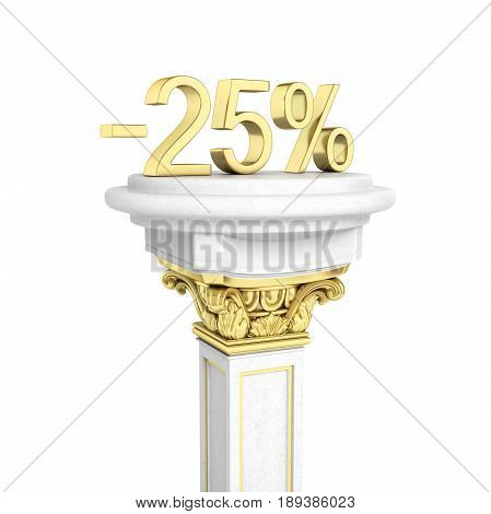 Gold Text 25 Percent Off Standing On The Pedestal Isolated On White Background 3D Render