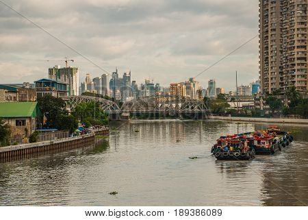 The View From The Bridge Over The River And Skyscrapers. Manila, Philippines.