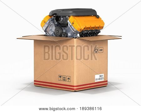 Engine In A Cardboard Box Concept Of Sale And Delivery Of Auto Parts Isolated On White Background 3D