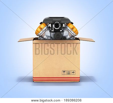Engine In A Cardboard Box Concept Of Sale And Delivery Of Auto Parts On Blue Gradient Background 3D