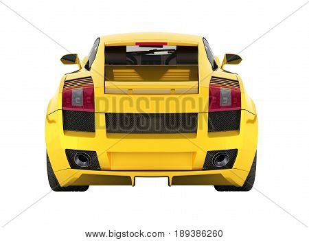 Sport Car Vehicle In Yellow Rear View Without Shadow On White Background 3D