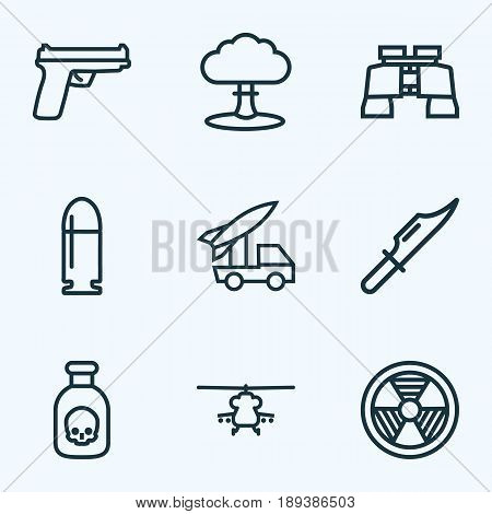 Battle Outline Icons Set. Collection Of Military, Rocket, Radiation And Other Elements. Also Includes Symbols Such As Artillery, Ballet, Rocket.