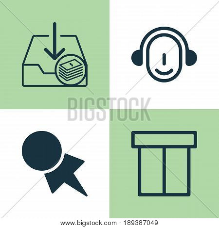 E-Commerce Icons Set. Collection Of Box, Discount Coupon, Employee And Other Elements. Also Includes Symbols Such As Pager, Money, Coupon.