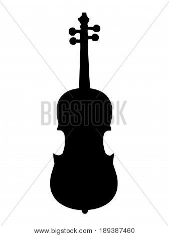 black silhouette violin musical instrument vector on white background