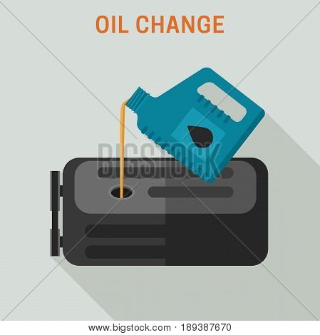 Motor oil change. Vector flat banner of maintenance.
