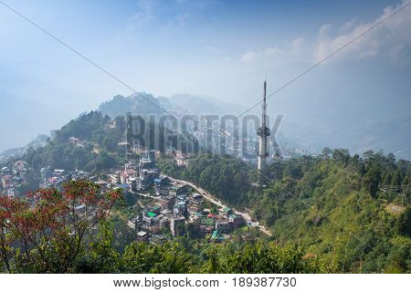 Bird's eye view of Gangtok downtown from Ganesh Tok Sikkim India